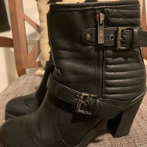 Guess buckle boots with side zip
